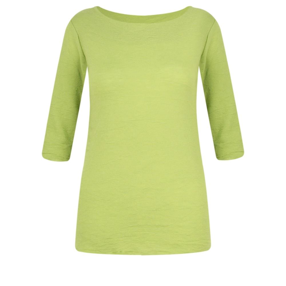 BY BASICS Mette Three Quarter Sleeve Blusbar Merino Top Lime 778