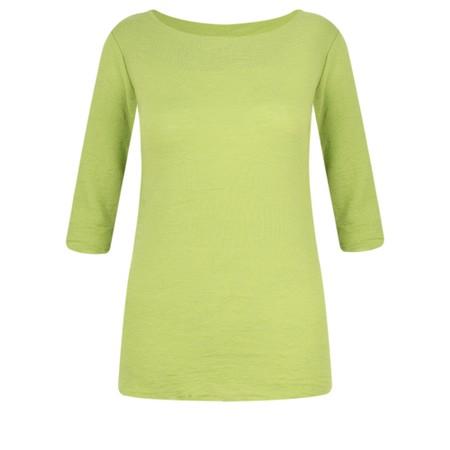 BY BASICS Mette Three Quarter Sleeve Blusbar Merino Top - Green