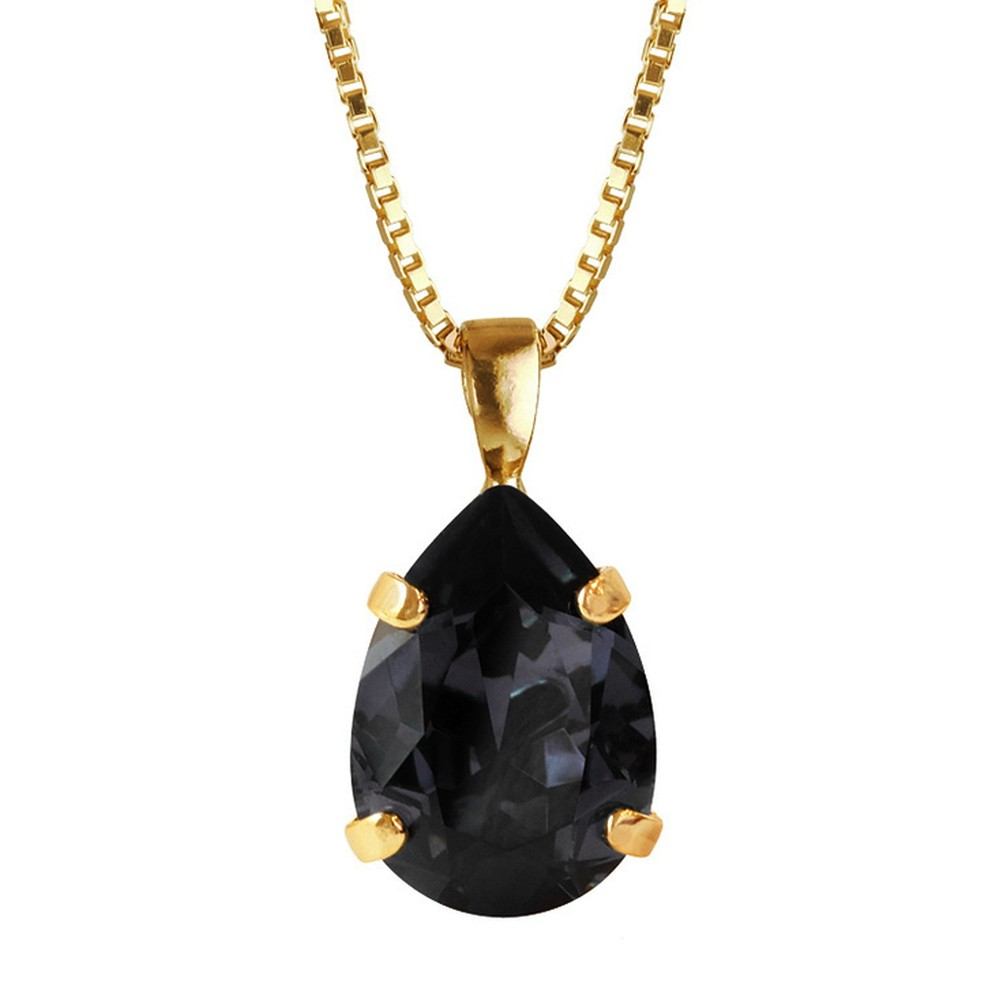 Caroline Svedbom Mini Drop Necklace  Graphite / Gold