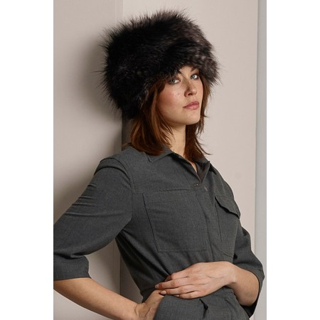 Helen Moore Pillbox Faux Fur Hat - Black