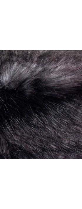 Helen Moore Pillbox Faux Fur Hat Black Quail