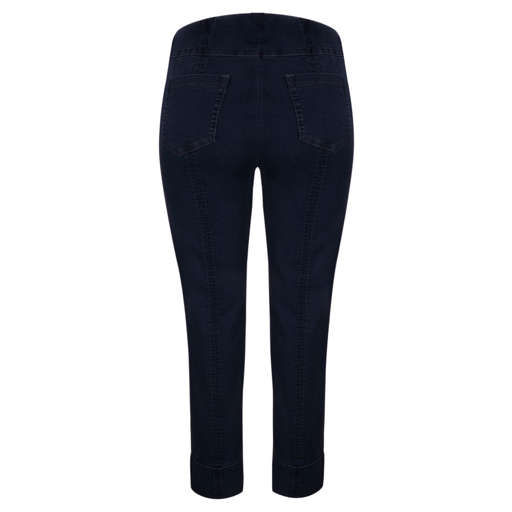 Robell Bella 09 Navy Ankle Crop Jean with Cuff Navy 69
