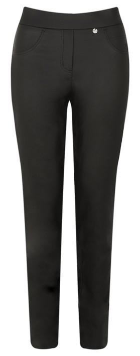 Robell Rose Black Faux Leather Trouser Black
