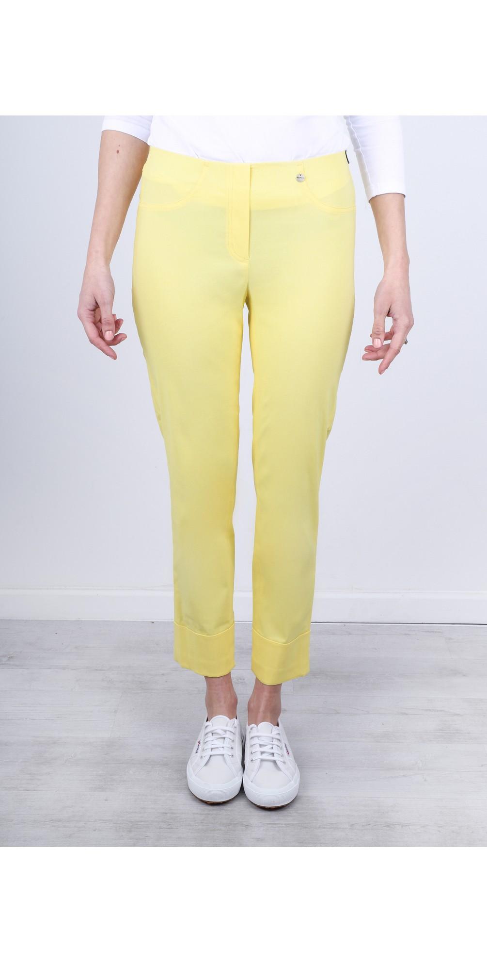 Bella 09 Lemon Ankle Length Crop Cuff Trouser main image