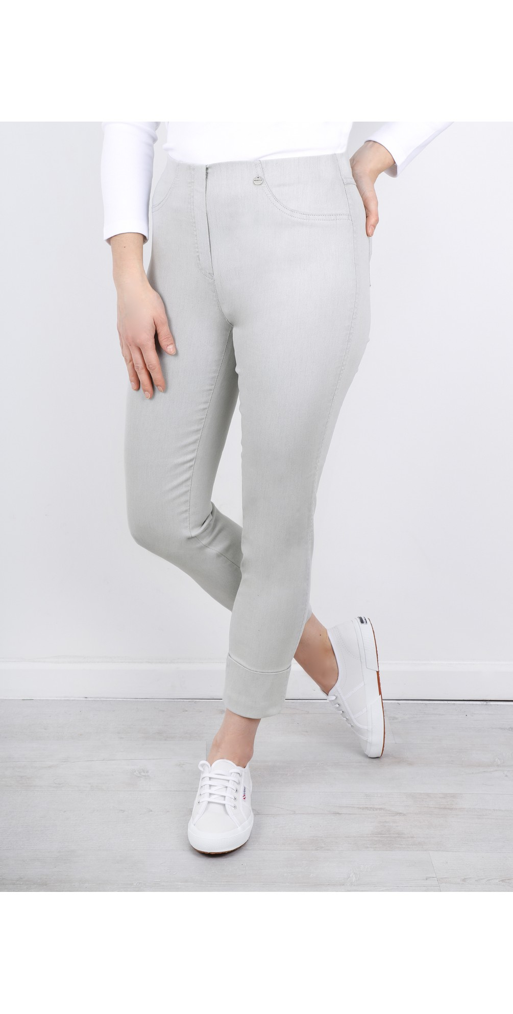 Bella 09 Light Grey Ankle Crop Jean with Cuff main image