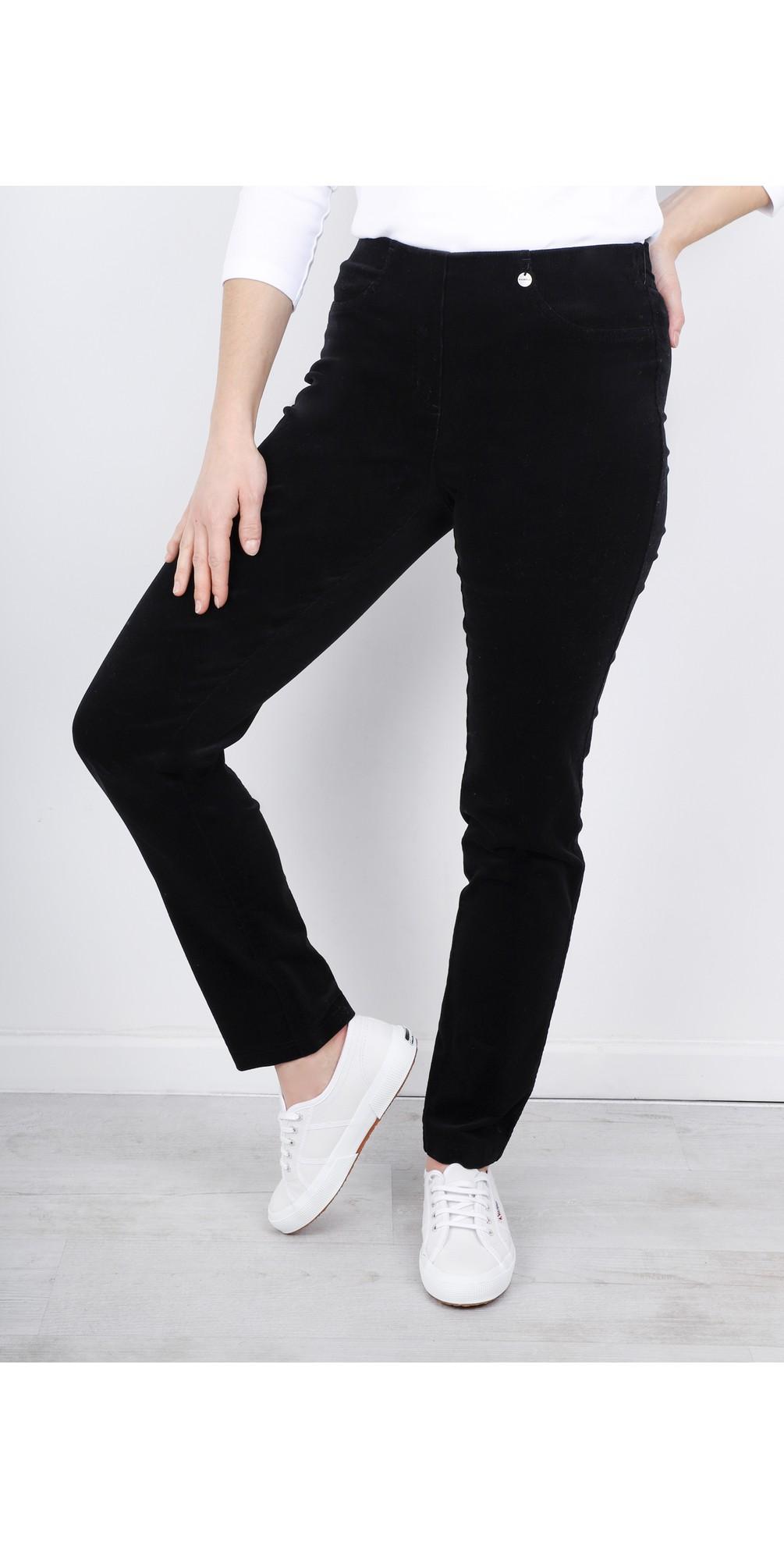 Bella  Black Needlecord Full Length Trouser main image