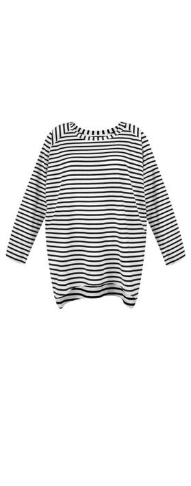 Chalk Robyn Stripe Top Black / White