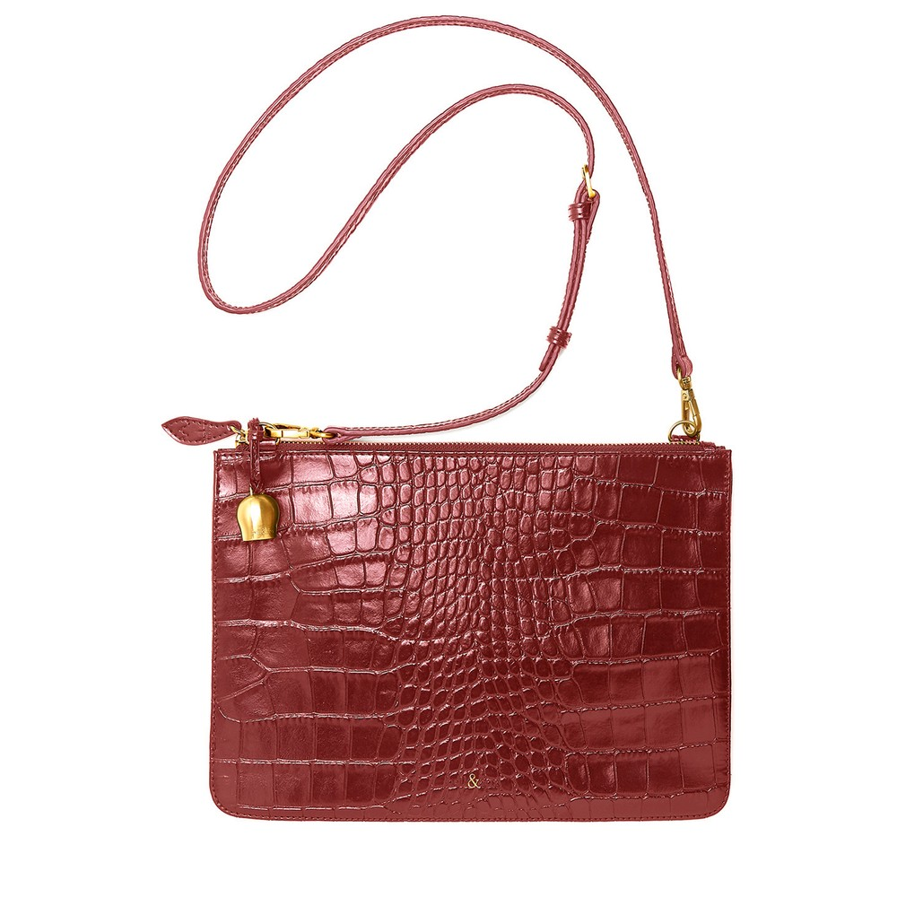Bell & Fox Gia Oversized Clutch/Cross Body Bag Garnet