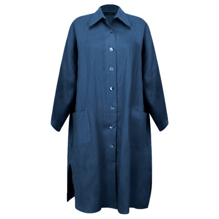 Chalk Lisa Linen Coat - Blue