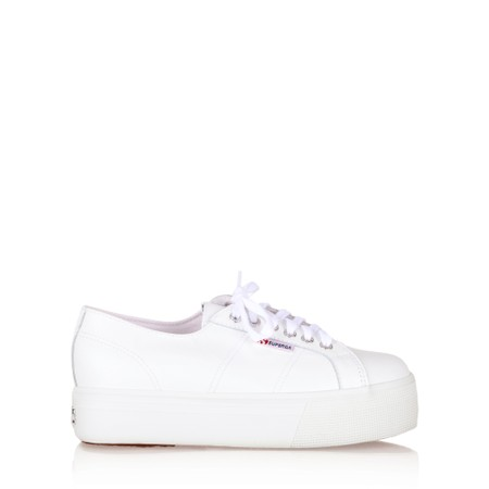 Superga 2790 Nappa Leather Flatform Trainer Shoe - White