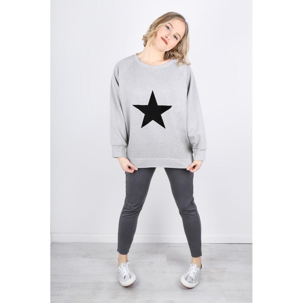 Chalk Ruby Star Sweatshirt  Grey Marl / Black