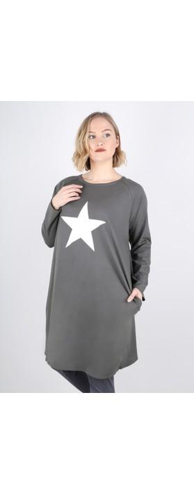 Chalk Brody Star Dress Charcoal / White