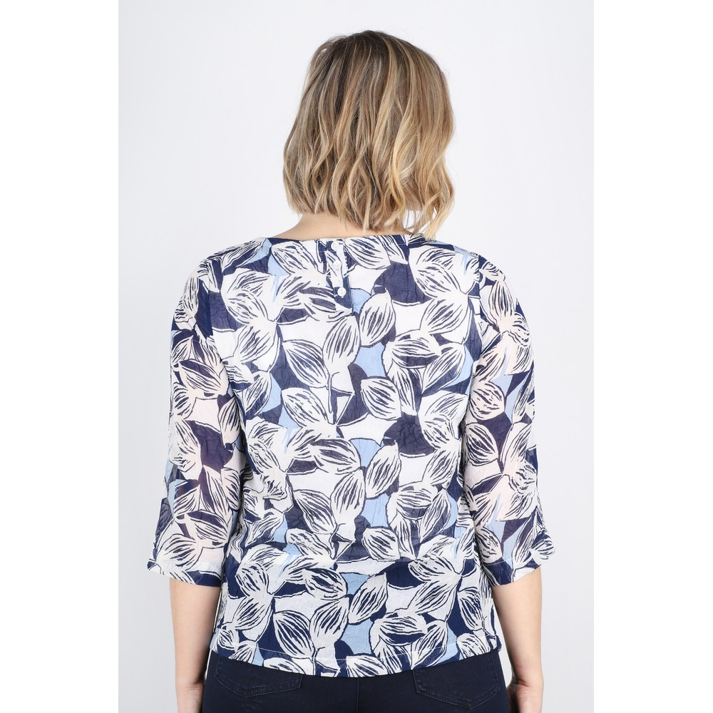 Adini Anguilla Print Rina Blouse Royal Blue
