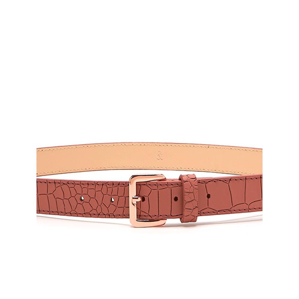 Bell & Fox Erin Croc Leather Belt Terracotta