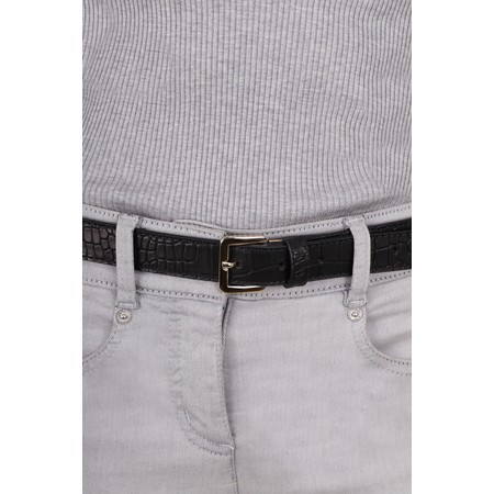 Bell & Fox Erin Croc Leather Belt - Black