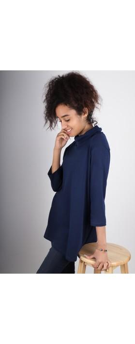 BY BASICS Clara Easyfit Organic Cotton Roll Neck Top Navy Blue 72