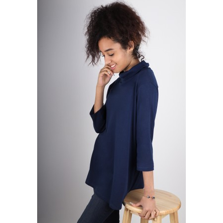 BY BASICS Clara Easyfit Organic Cotton Roll Neck Top - Blue
