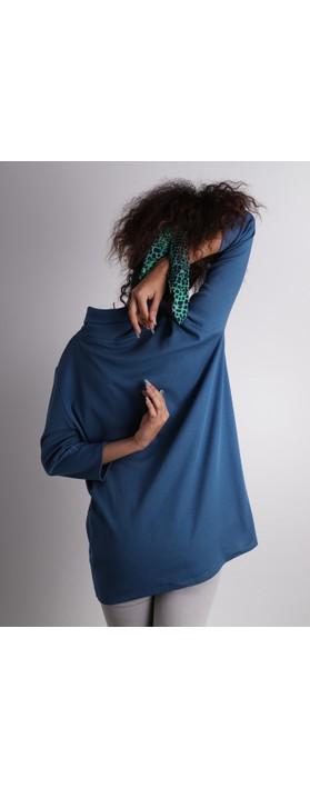 BY BASICS Clara Easyfit Organic Cotton Roll Neck Top Denim Blue 73