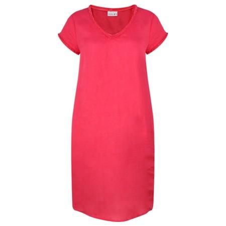 Foil Fringe Benefits Linen Dress - Red