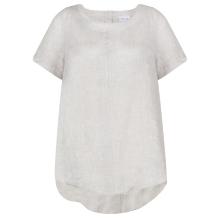 Foil Stitching The High Notes Linen Top - Beige