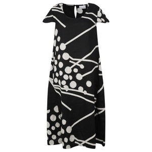 Foil Flare and Square Linen Dress
