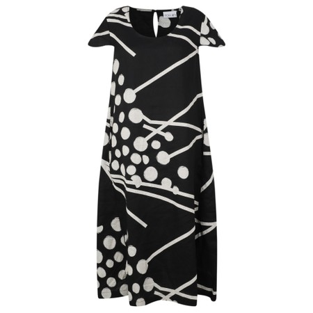 Foil Flare and Square Linen Dress - Black