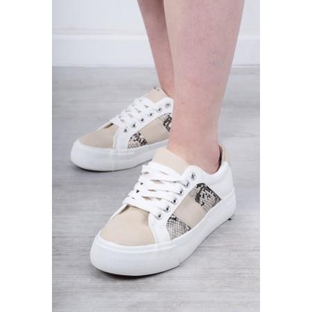Eljay Roma Animal Print Trainer Shoe - White