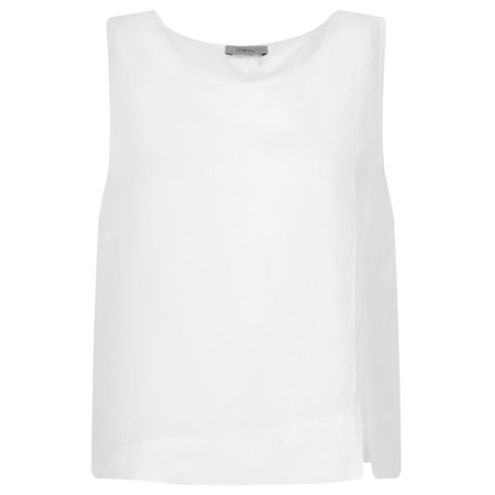 Crea Concept Linen Blend Shell Top - White