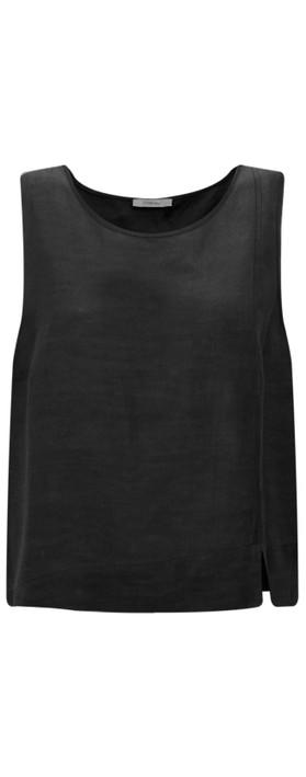 Crea Concept Linen Blend Shell Top Black