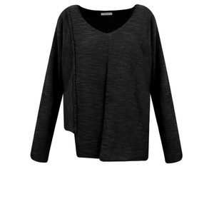 Crea Concept Cotton Asymmetric Hem Fine Knit Jumper