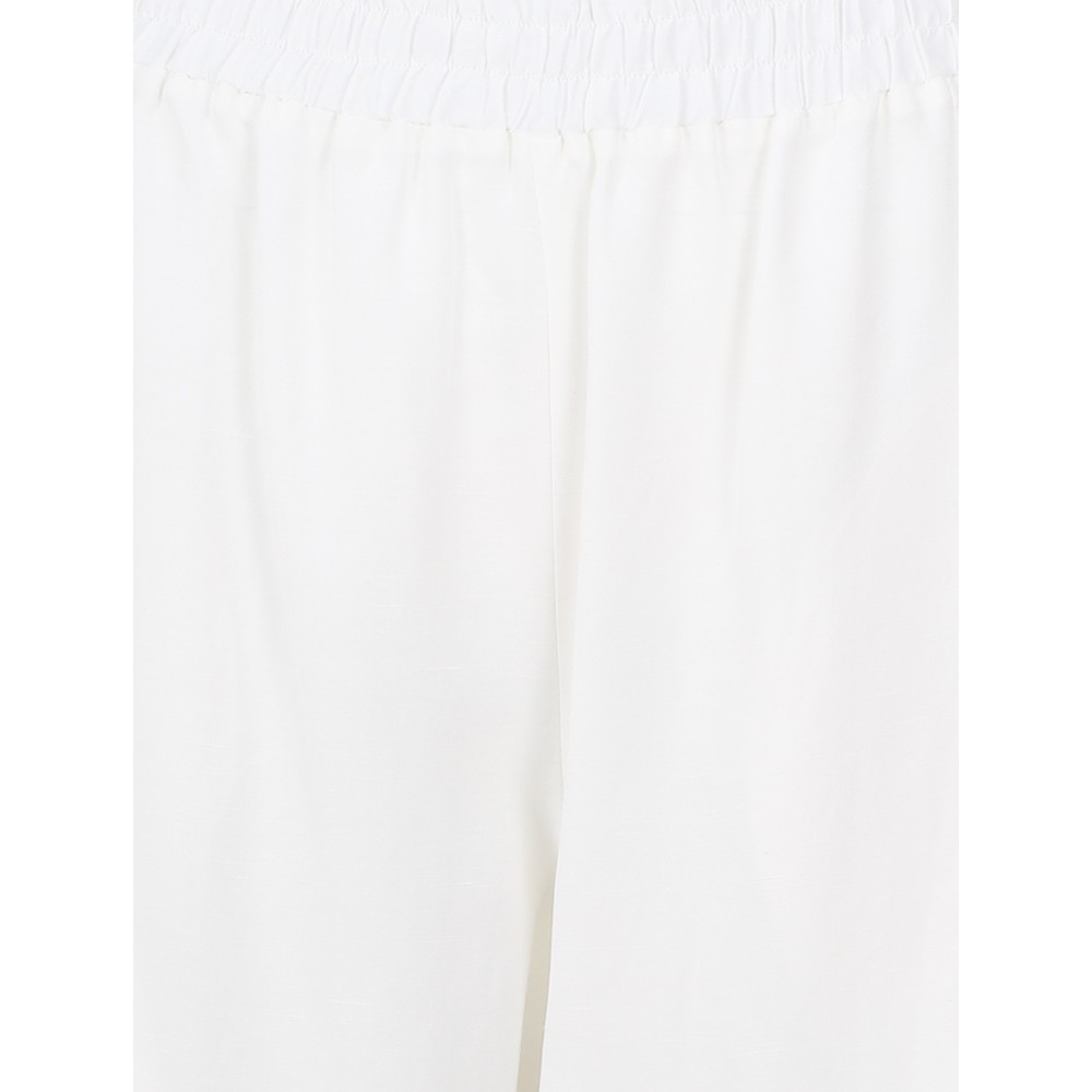 Crea Concept Wide Leg Linen Blend Trousers Off White
