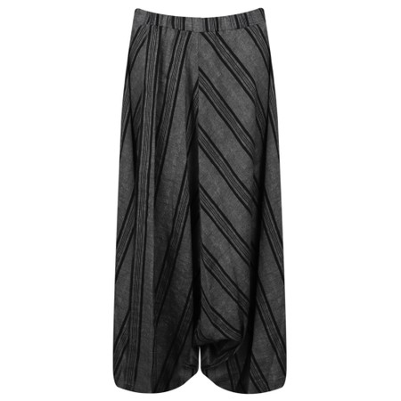 Crea Concept Asymmetric Harem Striped Trouser - Black