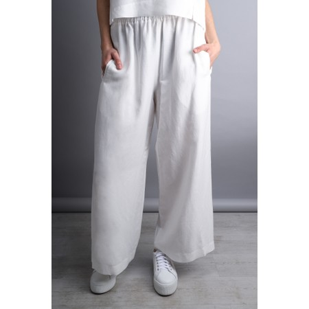 Crea Concept Wide Leg Linen Blend Trousers - White