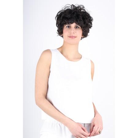 Crea Concept Linen Blend Shell Top - White