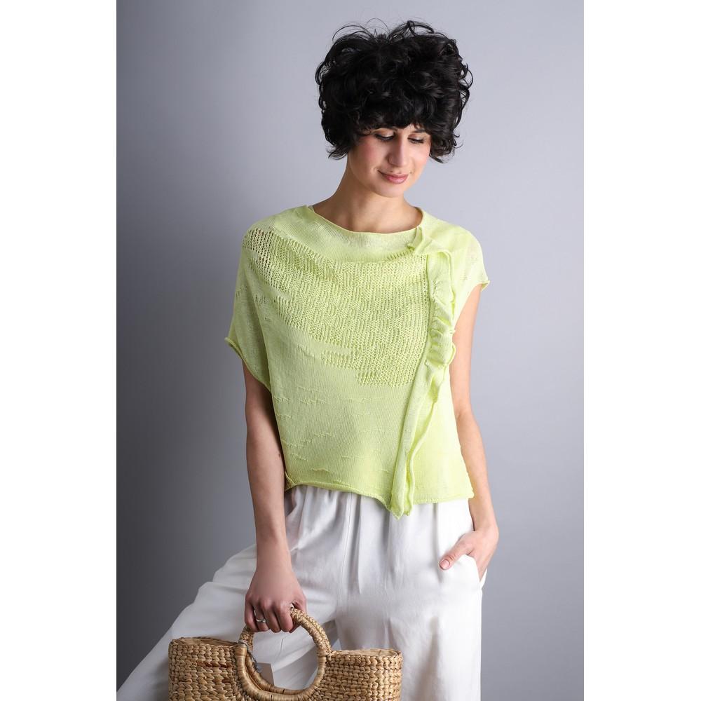 Crea Concept Asymmetric Mesh Frill Knit Jumper Lime
