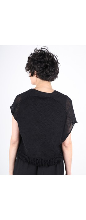 Crea Concept Asymmetric Mesh Frill Knit Jumper Black