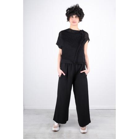 Crea Concept Asymmetric Mesh Frill Knit Jumper - Black
