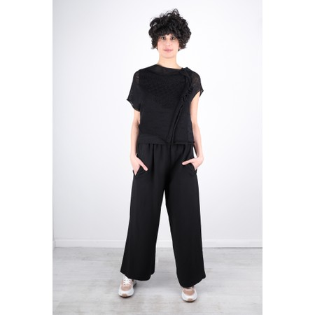 Crea Concept Wide Leg Linen Blend Trousers - Black