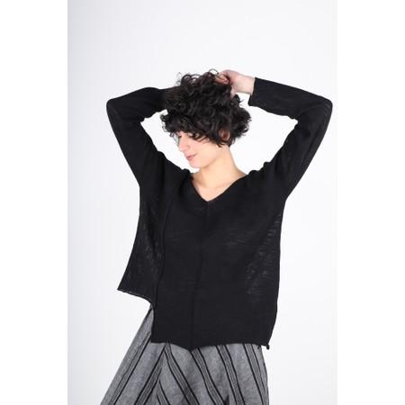 Crea Concept Cotton Asymmetric Hem Fine Knit Jumper - Black