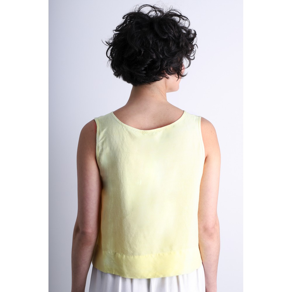 Crea Concept Linen Blend Shell Top Lime