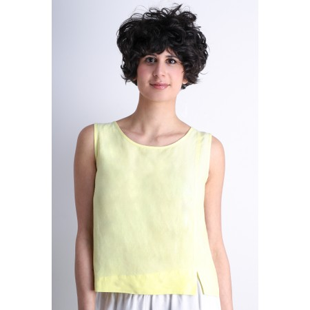 Crea Concept Linen Blend Shell Top - Green