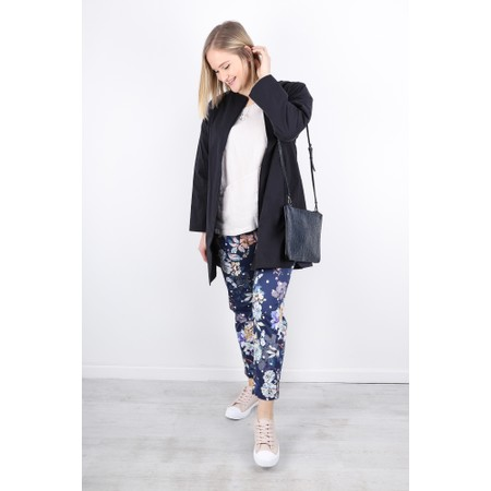 Robell  Bella 09 Floral Print 7/8 Cropped Trouser - Blue