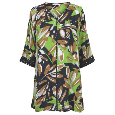 Masai Clothing Galeni Abstract Floral Tunic - Green