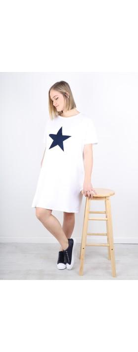 Chalk Linda Star Dress White / Navy