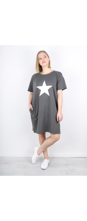 Chalk Linda Star Dress Charcoal / White