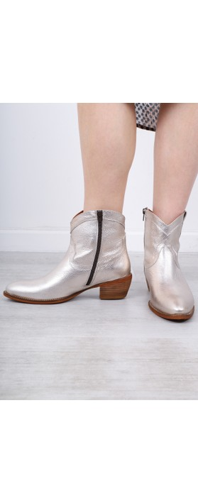 Kanna Porto Western Ankle Boot Champagne