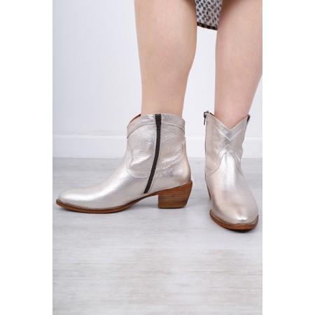 Kanna Porto Western Ankle Boot - Beige