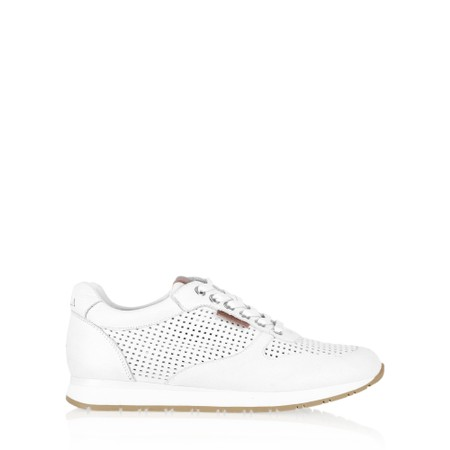 Carmela Tabby Leather Trainer Shoe  - White