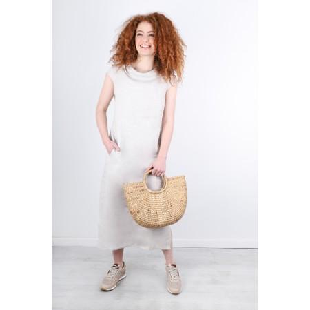 Foil Culture Vulture Linen Dress - Beige