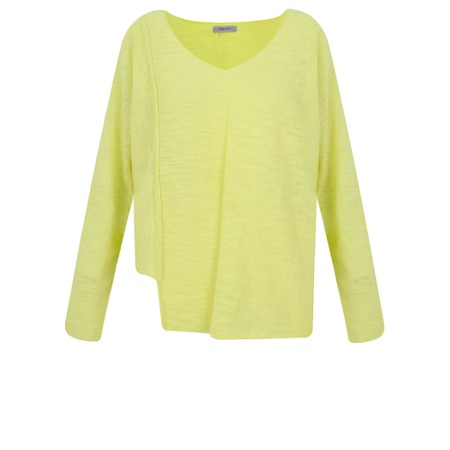 Crea Concept Cotton Asymmetric Hem Fine Knit Jumper - Green